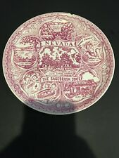 """NEVADA STATE SOUVENIR PLATE 7"""" The Sagebrush State Hoover Dam Vegas Vic~Chipped"""