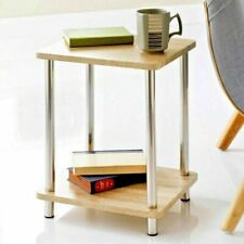 Small 2 Tier Oak Finish Side Table with Shelf Office Bedroom Coffee End Table