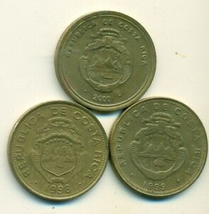 3 DIFFERENT 100 COLONES COINS from COSTA RICA (1998, 1999 & 2000)