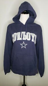 Dallas Cowboys Hoodie Womens Medium Blue Embroidered Athletic Pullover Sweater