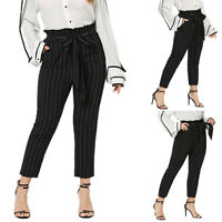 Plus Size Womens Striped High Waisted Paper Bag Casual Pants Cigarrette Trousers