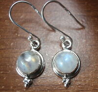 Moonstone Round with Tri-Dot Accent 925 Sterling Silver Dangle Earrings