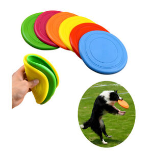 Pet Dog Silicone Training Flying Plate Toy Durable Dish Chew Outdoor Disc Bite