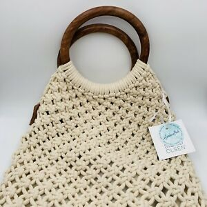 Sigrid Olsen Macrame Purse Crochet Handbag Natural Cotton Bamboo Handle Handmade