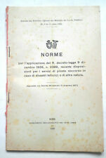 TERREMOTI 1928 DISPOSIZIONI SERVIZI PRONTO SOCCORSO PER DISASTRI TELLURICI