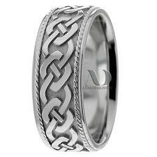 14K White Gold Celtic Knots With Milgrain Mens Wedding Ring 8mm