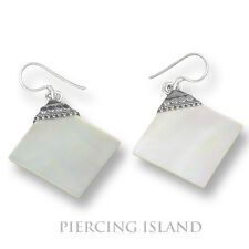 Elegante Perlmutt Muschel Ohrringe Hänger Silber Schmuck Silver Earrings SER051