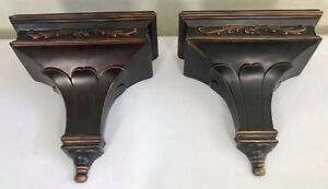 Vintage Neoclassical Pair Ceramic Wall Sconce Shelves