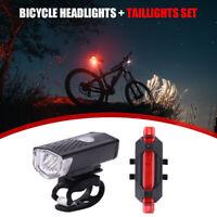 Fahrrad LED Frontlampe Scheinwerfer + Rücklicht Set USB Wiederaufladbare Lampe