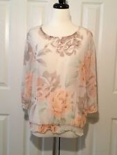 CHICOS  Women's Peach Sheer Floral 3/4 Sleeve Elastic Ruffled Hem Blouse Size 1