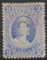 QLD Stamps - Chalon - 1882 - 2 shillings blue - used - SG152