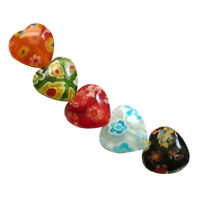 40pcs MIX Millefiori Lampwork Flat Heart Glass Beads 10mm HY