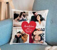 Cuscino con Cuore Rosso Personalizzato con Nomi, Dedica e Foto