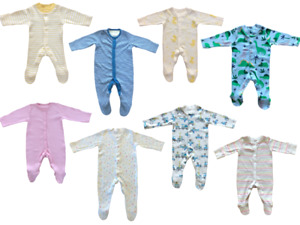 Ex Mothercare Boys Girls Baby Babygrow Toddler Button Cotton Sleepsuit Playsuit