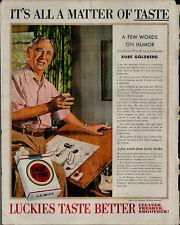 1954 Lucky Strike Cigarettes Rube Goldberg Man Drawing Vintage Print Ad 2527