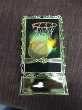 Basketball ball and net insert trophy weighted gold holder