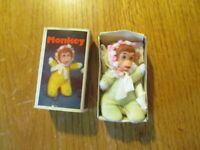 Vintage Baby William Bean Matchbox Monkey Doll - Zoo series w/ Box Hong Kong