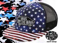 New Vans Classic Patch American Flag Trucker Plus Snapback Cap Hat