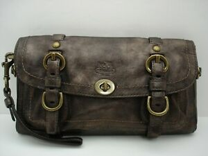 Pre-owned Coach Leather Legacy Oversize Turn lock Clutch 12707 Bronze/Brass