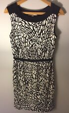Ann Taylor Loft Black/White Leaf Floral Sleeveless Lined Dress Small Work Party