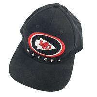 Vintage 90s Kansas City Chiefs Game Day Strap Back Dad Hat Black Cap Team NFL