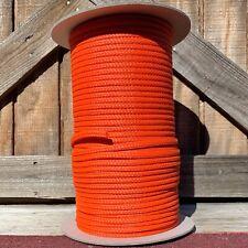 6mm x 1000 ft. 16 Strand Hollow Braid Polyethylene Rope. Orange. Made in Usa.
