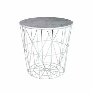 White Marble Effect Top Wire Storage Basket Round End Side Table Home Furniture