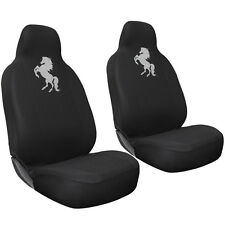 Car Seat Covers for Ford Mustang Wild White Horse Logo w/Integrated Head Rest
