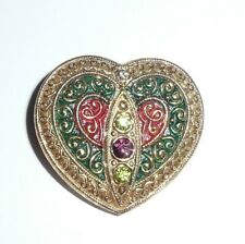 Beautiful Czech Glass Multi-Colored Heart Shaped w/ Rhinestones Shank Button