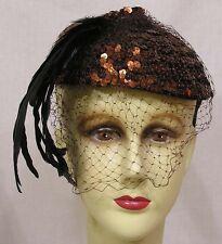 Vintage Womans Tilt Hat Copper Color Sequins Black Feather Spray 1950s