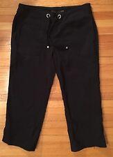 PrAna Yoga Casual Pants Black Size Small, Drawstring Crop Stretch