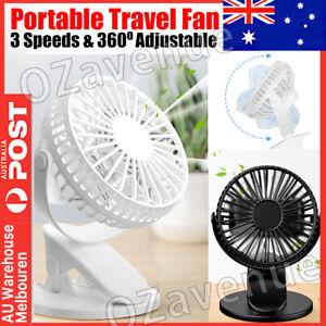 Portable 360° Mini Fan Travel Rechargeable USB Clip On Desk Fan Pram Cot Car AU