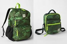 GAP KIDS BOYS GIRLS SENIOR BACKPACK LUNCH BAG SCHOOL GREEN SHARK CAMOFLAGE NEW
