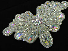 LARGE HEAVY SILVER AB RHINESTONE DESIGNER BEADED APPLIQUE 3587-W