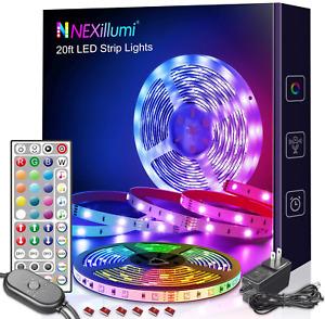 Tiras LED Luces Decoracion RGB Para Cuarto Habitacion Kit Sala 20 Pies FREE SHIP