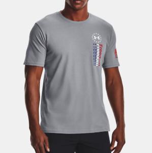 Under Armour Men's UA Freedom USA 76 HeatGear T-Shirt. Steel/White