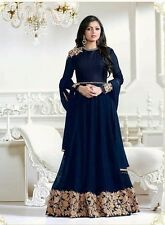 Indian Stylish Designer Bollywood Party Blue Anarkali Salwar Suit Gown Dress