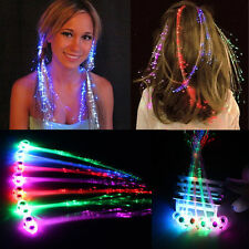 15x LED Light Up Flashing Hair Extension Braid Clip Gift Pony Tail Fibre