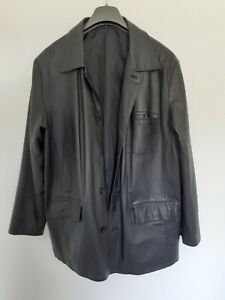 """Black pre-owned unbranded leather jacket-size large-chest 46"""" FREE SHIPPING"""