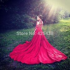 Red Wedding Dresses Long Sleeve Appliques Cathedral Train Taffteta Bridal Gowns