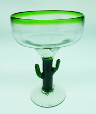 Mexican Margarita Glasses Saguaro cactus with green rim, hand blown (1)
