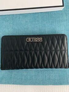 Guess Ladies Women's Black Quilted Zip-around Wallet Brand New
