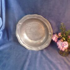 More details for large antique pewter bowl-wavy edged-17th/18th century