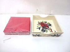 "American Home Collection Lenox ""Winter Greetings"" Napkin Holder / Red Napkins"