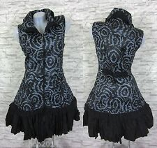 PATCHWORK Weste Kleid Tunika Longshirt Schwarz/Grau Gr 38 (T1212N) FRANSTYLE