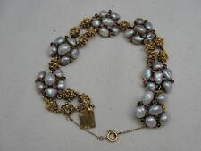 Signed 18K Gold Braided Knots & FW Keshi Pearl Bracelet Rubies & Emeralds -60 gr