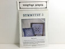 Cross Stitch Pillow Top Kit Antique Design of Filet Lace Netting with Beads