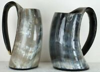 "set of 2 Viking Drinking Horn 6"" mug cups ale beer wine mead marriage ceremony"