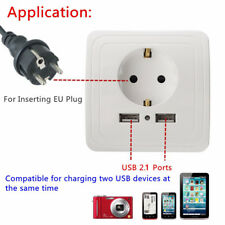 Dual Power Outlet EU Plug USB Port Electric Wall Charger Station Socket Adapter