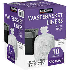 Kirkland Signature 10-Gallon Wastebasket Liner, Clear, 500-count